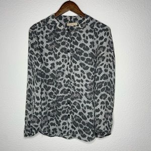 3/$30 banana republic button down leopard blouse